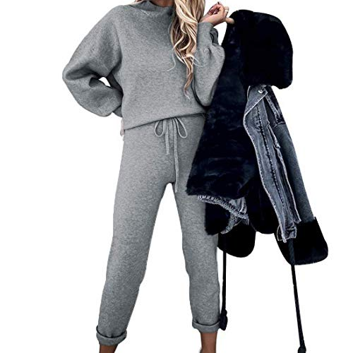 Onsoyours Conjuntos de Deporte Chándal para Mujer Chandal Conjunto para Mujer Moda Casual Conjuntos Deportivos Manga Larga Sudadera con Pantalones B Gris XXL