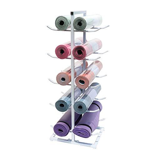 Soporte para Esterilla de Yoga para Suelo Organizador de 5 Niveles, Soporte de Metal para 20 Rodillos de Espuma o Tapetes de Entrenamiento, Hogar Gimnasio Estudio (Color : White)