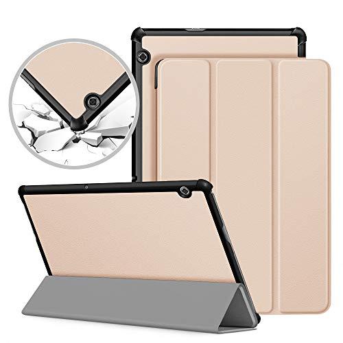 VAGHVEO Funda Carcasa para Huawei MediaPad T5 10, Ultra Delgado Silm Stand Función Fundas Duras Smart Cover Case Protectora para Huawei MediaPad T5 10 10.1' Pulgadas 2018 Tableta, Oro