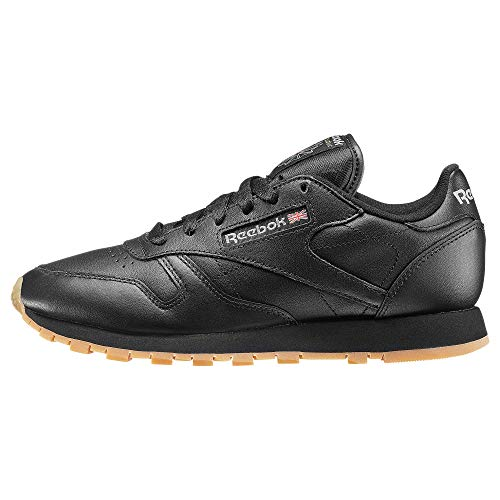 Womens Reebok Classics Leather Trainers in Intense Black/Gum.