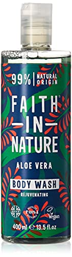 Faith in Nature Natural Aloe Vera Body Wash, Rejuvenating, Vegan & Cruelty Free, Paraben and SLS Free, For Normal to Dry Hair, 400 ml