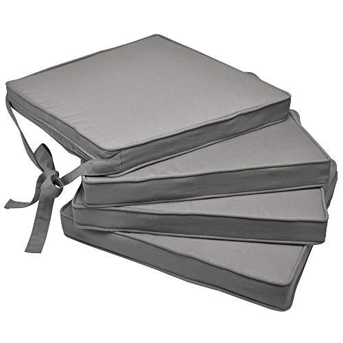 Beautissu Set de 4 Cojines para sillas Loft SK - Juego de Cojines cómodos para Asientos 45x40x5 cm Gris Claro - Cojines Elegantes y Modernos