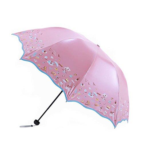 Li Ye Feng Shop Regenschirm Creative Regenschirm Taschenschirm UV Schutz Regenschirm 23,5 cm (9,2 Zoll) (Color : Pink)