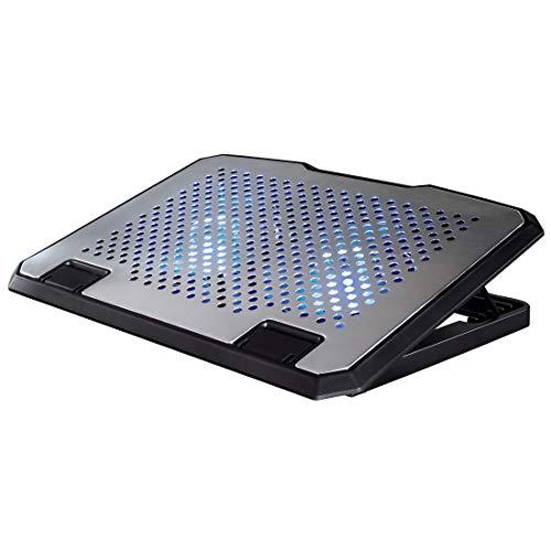 HAMA, Base Refrigeración para Portátiles, Portátiles de 15.6  Pulgadas, Aluminio, Iluminación LED Azul, Ventiladores Integrados x 2, Ajustable en Varias Alturas, Medidas: 37 x 27 x 3 cm, Conexión USB