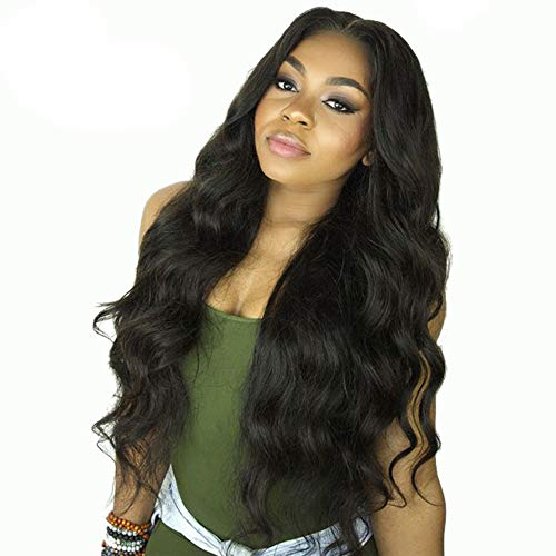 QAZJ Natural Lace Front Wig Long Curly Wavy Synthetic Wig Heat Resistant High Temperature Fiber Swiss Lace Part Handmade Wigs for Women Natural Hairline with Baby Hair 26inch