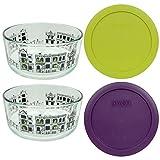Pyrex (2) 7201 Fright Night Glass Bowls & 7201-PC (1) Green Edamame and (1) Purple Plastic Lids