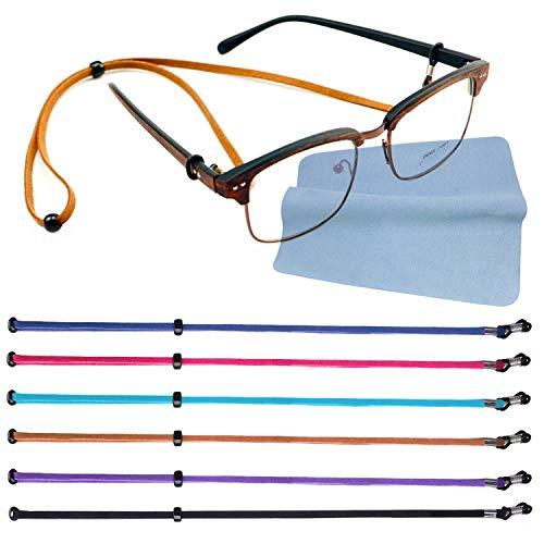 Gafas de Ojo Correa Gafas Gafas de Cuero Falso Fijo Cadena 70cm-6 Piezas con 1 Paño de Limpieza de Gafas