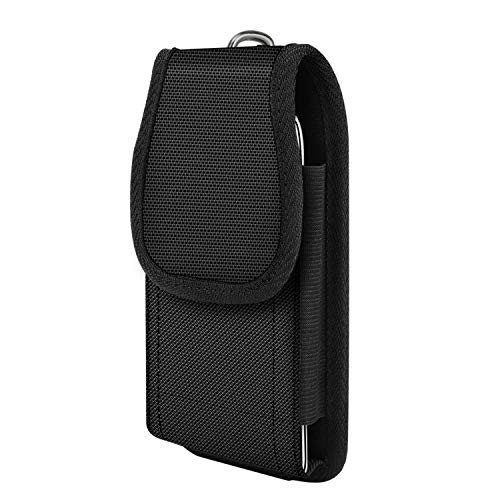 MoKo Bolsa de Teléfono de Clip de Cinturón para iPhone 12 Mini/ 12/12 Pro/SE/ 11 Pro/ 11/11 Pro MAX/XS/XS MAX/XR,Galaxy Note 10/Note 10 Plus/S10e/S10/S10+ - Negro