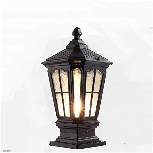 CNMGM Europäische Klassische Outdoor-Säulen-Kopflampe, wasserdichte Glas-Garten-Terrasse-Zaun-Rasenlandschaft Straßenlaterne Aluminium