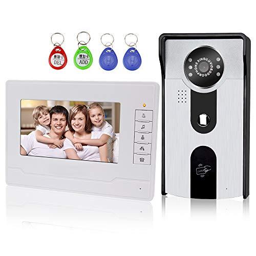 """KDL 7""""Video Türklingel Türsprechanlage Intercom System RFID Zutrittskontrolle mit Zwei-Wege Audio/IR Nachtsicht/Multi Ring/Farbe HD Kamera Monitor für Home (1 Monitor)"""