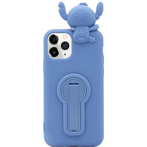 MC Fashion Cute 3D Cartoon Stitch Case mit drehbarer Halterung Kickstand, stoßfest und schützend, weiche Silikon Handyhülle für Apple iPhone X/Xs 5,8 Zoll