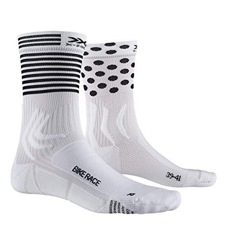X-Socks Bike Race, Calzini da Ciclismo Unisex-Adulto, Arctic White/DOT/Stripe, 42-44