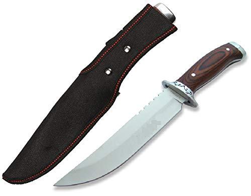 KOSxBO® festehendes scharfes Messer 28,5cm lang mit robusten Griff aus Holz und Edelstahl FullTang inklusive Messerscheide - Hunting Knife - feststehendes Messer mit Holzgriff -