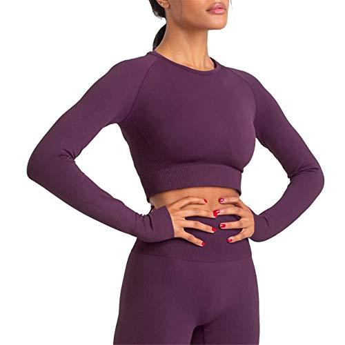 Mujer Mallas Leggins Top Conjuntos, Ropa de fitness para mujeres Trajes sin fisuras de 2 piezas Cintura alta Pegamento de yoga flaco de manga larga Top Top pulgar Hole Thirts Ropa de gimnasio Conjunto