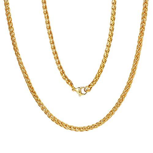 Joya Moderna de Cadena de SOGA Tipo Espiga Fina 3mm 24 Inch Acero Metal Color Oro Broche Garra de Langosta Clásico