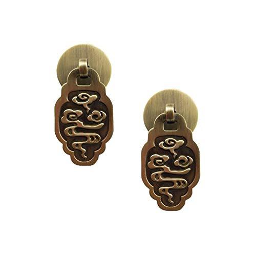 Tiazza Tiradores de latón engrosados para muebles de estilo chino, estilo vintage, para puertas de armario, manija pequeña (bronce antiguo)
