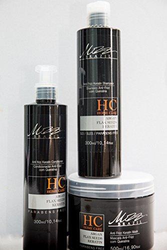 Home Care Mizz Brazil Kit shampoing anti-frisottis kératine 300 ml après-shampoing 300 ml masque capillaire 500 ml HC