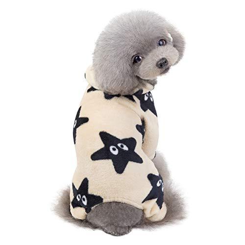 su/éter de Jersey de Gato de Perro de Mascota peque/ña Ropa de Abrigo Handfly Mono de Pijama de Perro Pijama de Estrella de Cachorro de Lana de Coral