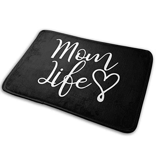 siming Mom Life Heart Logo Home Zerbini Tappetino per Interni Esclusivo per Esterni Tappeto da Cucina Antiscivolo per Bagno 15,7 'x 23,5'