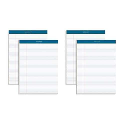 "TOPS Docket Writing Pads, 8-1/2"" x 11-3/4"", Narrow Rule, White Paper, 100 Sheets, 4 Pack (99612)"