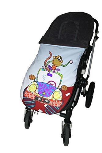 Tris&Ton Saco SU09 - Silla de paseo universal para bebe, saco funda cochecito con forro polar impermeable invierno, diseño Mono
