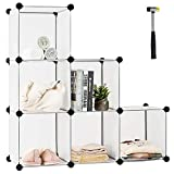 Tangkula 6 Cubes Storage Organizer, DIY Plastic PP Closet Cabinet w/Rustproof Steel Frame,...