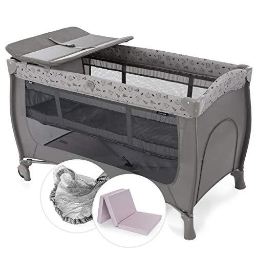 Hauck Baby Reisebett Sleep n Play Center Set mit Komfort Matratze und Insektenschutz - Babyreisebett mit Neugeborenen Einsatz, Wickelauflage, Rollen und Tasche (höhenverstellbar & faltbar) - Grau