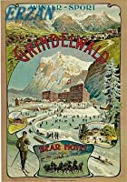 ERZANメタルポスター壁画ショップ看板ショップ看板1893年グリンデルヴァルトベアホテルスイスアートトラベル広告インテリア 看板20x30cm
