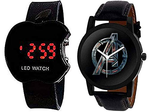 Y&S LED Digital Black Watch + Avenger Gamey Black Dial Analogue Watch Combo for Mens & Boys Popular of Black Dial Avenger Gamey Watch for Mens Boys Girls Childers Womens Under 299