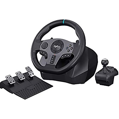 PXN V9 PC Driving Wheel, 900 Degree Vibration Racing Steering Wheel Set with Clutch and Shifter for PC, PS3, PS4, Xbox one/Xbox Series S&X, Switch