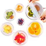 ExcelGadgets Silicone Stretch Lids, Reusable Silicone Lid Bowl Covers for food with Improved Grip Sealer with Platinum Food Grade Silicone, BPA free, 6 Pack of Various Sizes