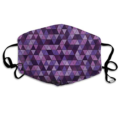 Dust Washable Reusable Filter and Reusable Mouth Warm Windproof Cotton Face,Triangle Grid Pattern Mosaic Tile In Lavender Plum Purple Amethyst Tones Of Color