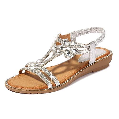 QLIGHA Sandalias de Moda Sandalias Planas con Flores de Diamantes de imitación idílicas Sandalias de cuña de Talla Grande para Adultos