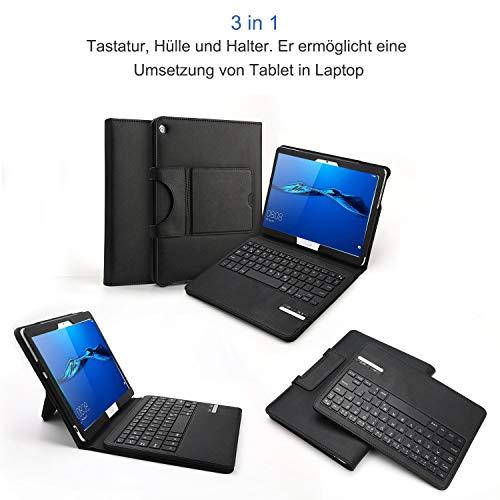 Jelly Comb Bluetooth Tastatur Hülle für Huawei MediaPad M3 Lite 10.1 Zoll, Kabellose Abnehmbare QWERTZ Tastatur mit Schützhülle für Huawei Android Tablet M3 25,6cm (10,1 Zoll), Schwarz - 3