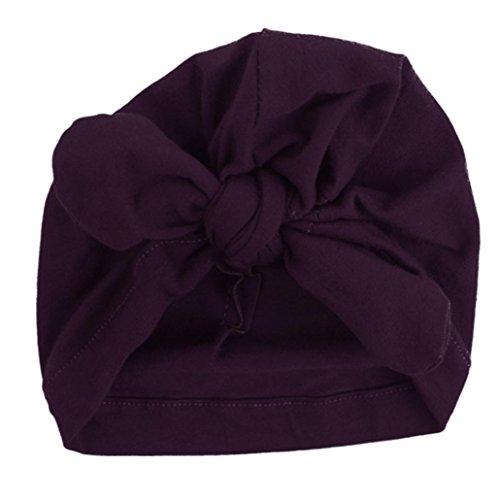 Babybekleidung Hüte & Mützen Winter Baby Kinder Mädchen Jungen Warme Baumwolle Mützen Bogen Knoten schönen weichen Hute (15.3 * 17.5cm) (Purple)