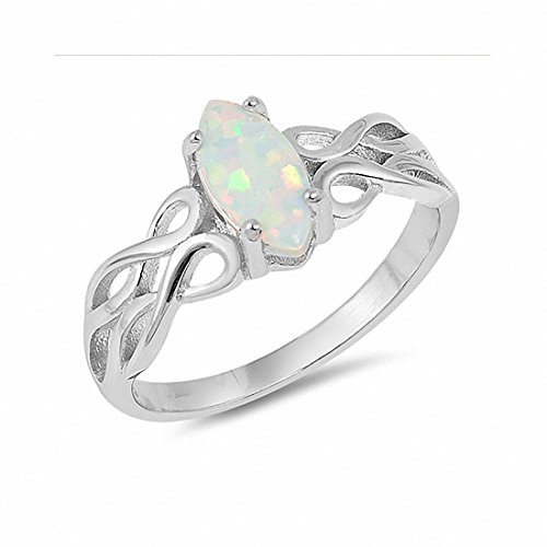 Blue Apple Co. Solitaire Ring Marquise Lab Created White Opal Celtic Shank 925 Sterling Silver