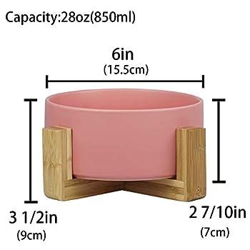 HCHLQLZ Rose Pet Gamelles pour Chien et Chat Gamelles Chien Chat Céramique Support Bambou -Va au Lave-Vaisselle et Facile à Nettoyer