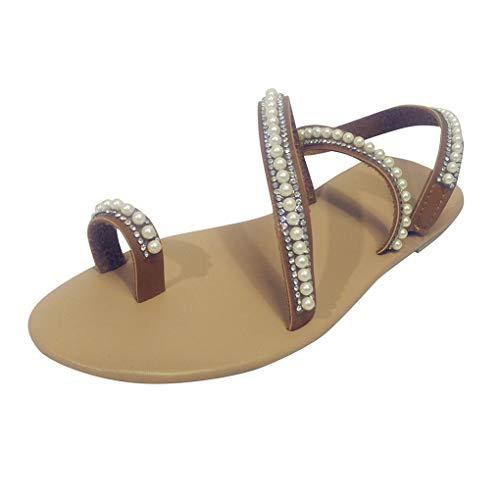 Dorical Damen Sommer Sandalen Böhmen Stil Flach Sommerschuhe Zehentrenner mit Perlen Pantoffel Flip Flop Strandschuhe in Übergrößen 35-43(Weiß,42 EU)