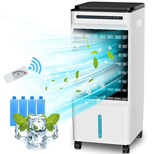 Raffreddatore d'aria Evaporativo 5L, 65W Ventilatore del Condizionatore 4-IN-1 con 4 Cristalli di Ghiaccio, 3 Modalità, Funzione di Ioni Negativi, 1-7H Timer e Telecomando, per Casa, Ufficio