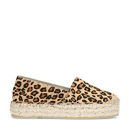 Sacha Schuhe - Damen Espadrilles - Leder - Leopardenmuster - 3 cm Dicke Sohle Mehrfarbig
