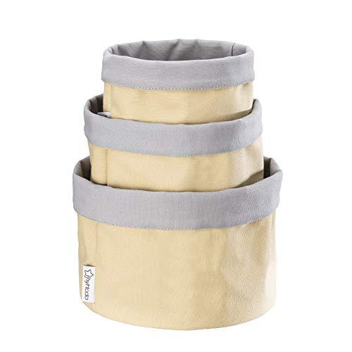 myHodo Juego de 3 Paneras de Pan de Tela (Varios Tamaños) 100% Algodón, Cesta de Mesa, Organizador Versátil para Baño, Cocina y Cambiador, Almacenamiento de Pan y Frutas, Diseño 2-en-1 (Amarillo)