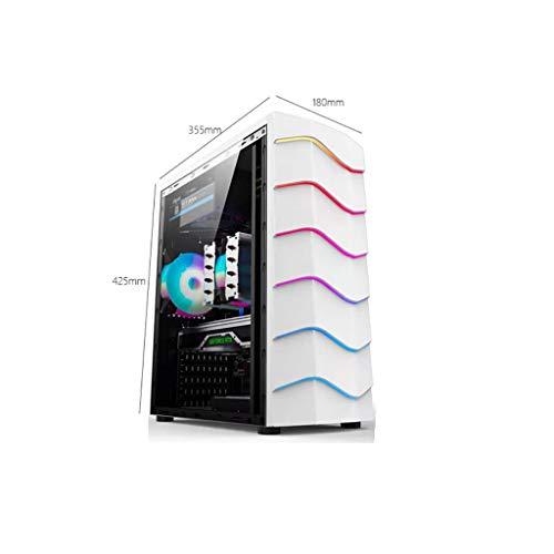 Cajas de Ordenador de sobremesa Funda de computadora de Material SPCC de 0.5mm, Caja de la Consola de Juegos Blanca Que Puede Instalar SSD * 2 / HDD * 1, Caja de Escritorio de computadora a través de