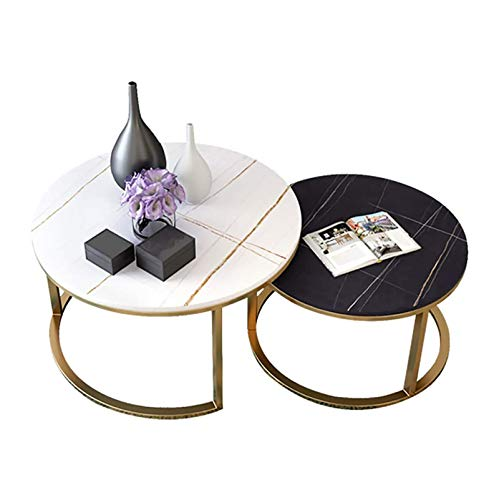 shcc Nesting Coffee Tables Set of 2 for Living Room, Office, Balcony, Round White MDF Marble Mental Tabletop, Golden Hairpin Legs