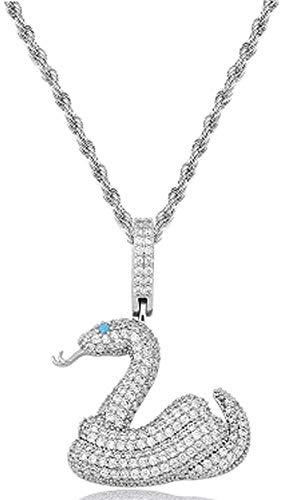 NC110 Hip-Hop Collar Colgante de circón Completo Serpiente de Cascabel 3 mm Cadena giratoria Hombres y Mujeres Son adecuados para Regalo de joyería-Plata YUAHJIGE