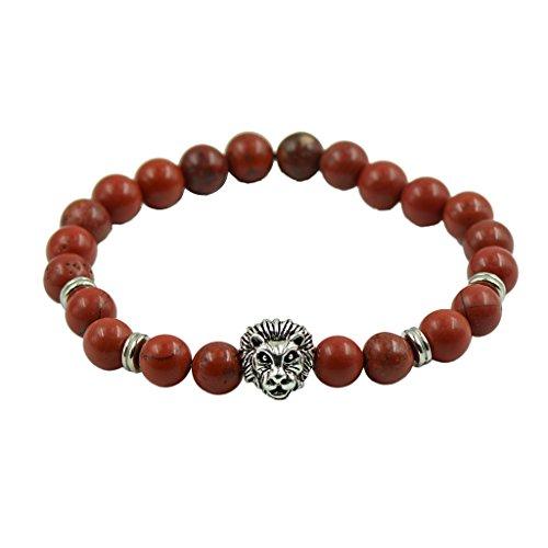 La Moda Jaspe Rojo Tibetano Pulsera De Plata La Cabeza del Leopardo del Grano del Espaciador Naturales