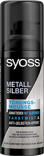 SYOSS Farbtönungsmousse Metall Silber Wash Out, 3er Pack(3 x 120 ml)