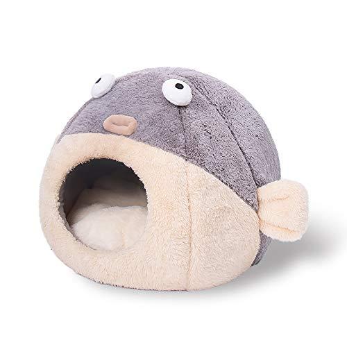 HiCollie 猫用ハウス ドーム型 フグ 河豚 犬用ハウス 小型犬 室内 キャットハウス 暖かい ペットハウス 犬小屋 ドーム 犬 ハウス 猫 ベッド 冬 クッション 犬ベッド ふかふか ネコハウス冬 可愛い おしゃれ ペット用品