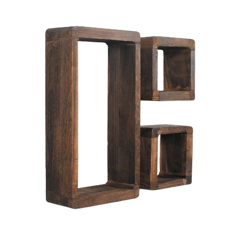 ts-ideen 3er Set Lounge Cube Regal Retro Shabby Look Hängeregal Massivholz Dunkelbraun