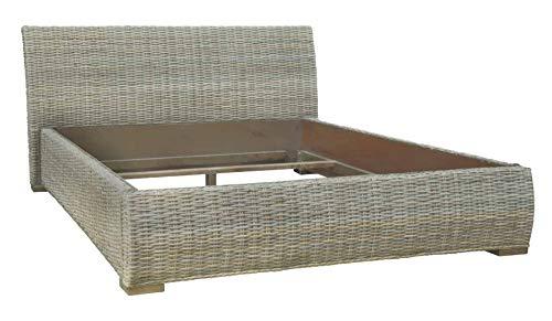 MiaMöbel Bett 180x110x210 cm Modern Massivholz Rattan Mahagoni Kubu-grau