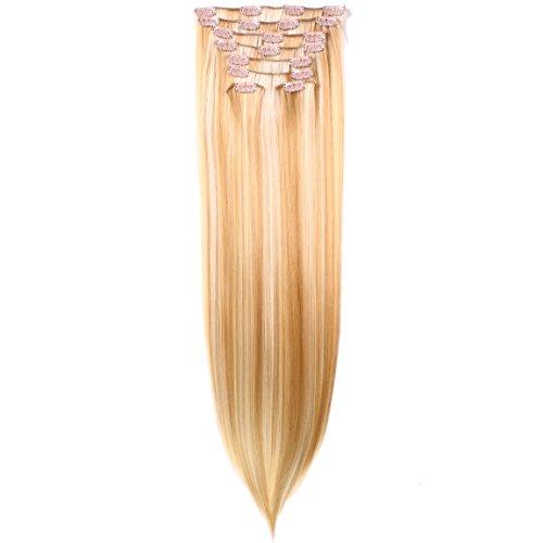 Hair2heart Extensions à clips 130 g Poids des cheveux, 8 pièces, lisse, 27 A/613